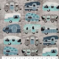 Anti-Pill Plush Fleece Fabric-Camping on Gray