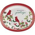 Handmade Holiday 8 pk Oval Paper Platters-Cardinals & Season\u0027s Greetings