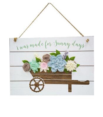 Hello Spring Wall Decor-Wheelbarrow with Felt Flowers