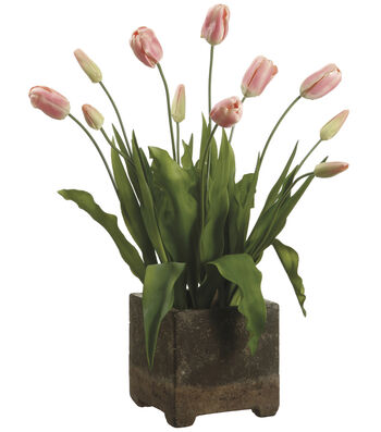 Bloom Room Luxe 29'' Tulip In Cement Pot-Pink