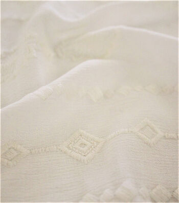 Silky Crinkle Embroidered Apparel Fabric 45''-Ivory