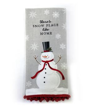 Handmade Holiday Christmas 16''x26'' Cotton Towel-Snowman & Sentiment