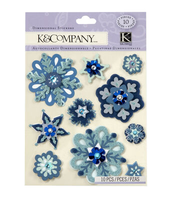 K&Company Christmas 10 pk Dimensional Stickers-Snowflakes
