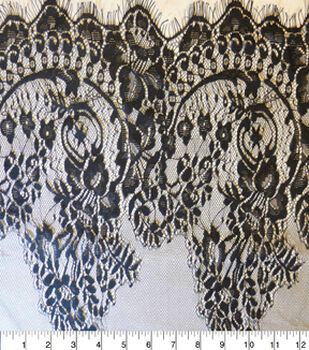Casa Embellish Fabric-Wide Lace Double Border Black