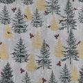 Christmas Cotton Fabric-Cardinals & Trees Gray
