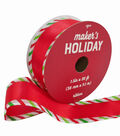 Maker\u0027s Holiday Christmas Ribbon 1.5\u0027\u0027x30\u0027-Red with Candy Striped Edge