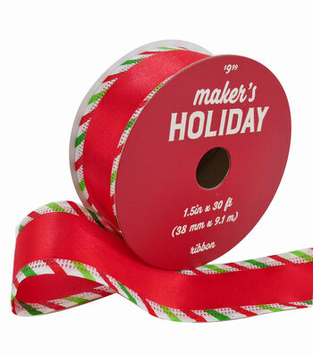 Maker's Holiday Christmas Ribbon 1.5''x30'-Red with Candy Striped Edge