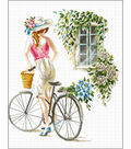 Needleart World No Count Printed Cross Stitch Kit-Bicycle Girl