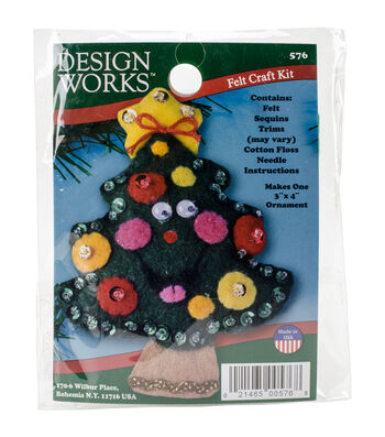 Design Works Christmas 3''x4'' Tree Ornament Felt Craft Kit