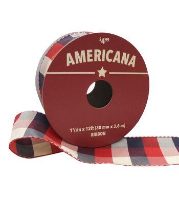 """Americana Ribbon 1.5""""x12'-Red, White & Blue Plaid"""