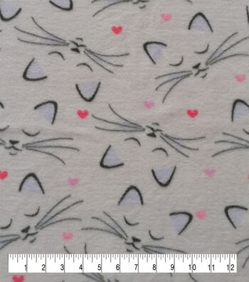 Valentine's Day Anti-Pill Plush Fleece Fabric-Purple Sleeping Kitties