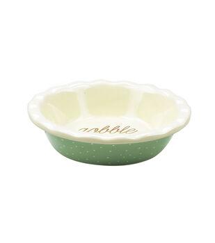 Mini Ceramic Pie Dish-Polka Dots on Turquoise