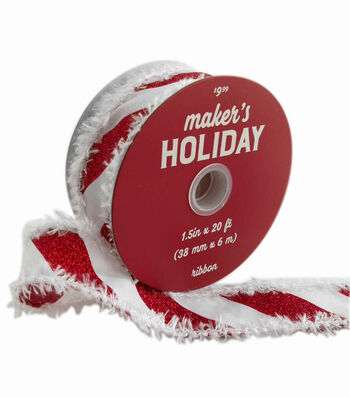 Maker's Holiday Ribbon 1.5''x20'-Candy Stripes with Fringe Edge
