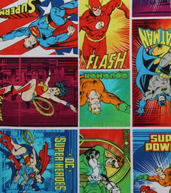 DC Comics Cotton Fabric 44''-Heroes in Action