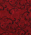 Harvest Cotton Fabric-Linen Scrolls on Burgundy