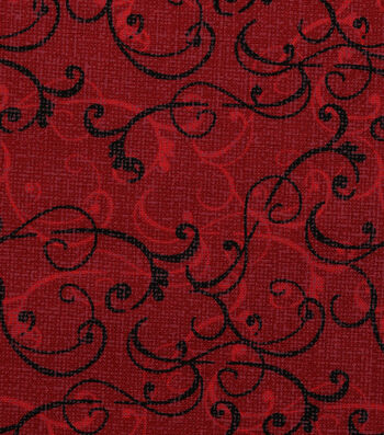 "Harvest Cotton Fabric 44""-Linen Scrolls on Burgundy"