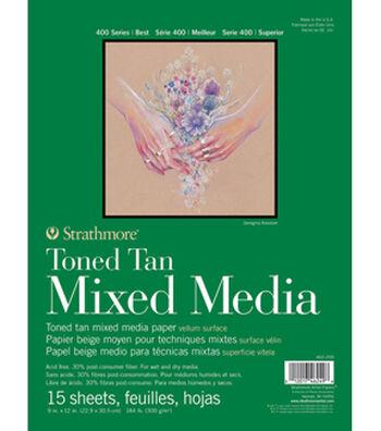 "Strathmore 9""x12"" 400 Series Mixed Media Pad-Toned Tan"