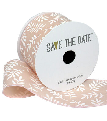 "Save the Date 2.5"" x 15ft Ribbon-White Fern On Blush"