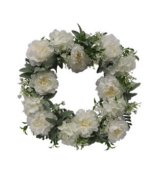 Fresh Picked Spring 22'' Flower Square Wreath-White