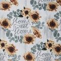 Anti-Pill Plush Fleece Fabric-Home Sweet Home Sunflower