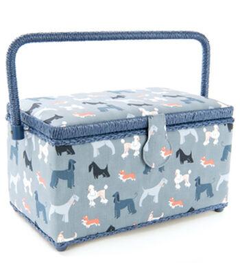 Medium Rectangle Sewing Basket-Gray Dogs