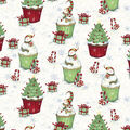 Christmas Cotton Fabric-Snowman & Trees Cupakes