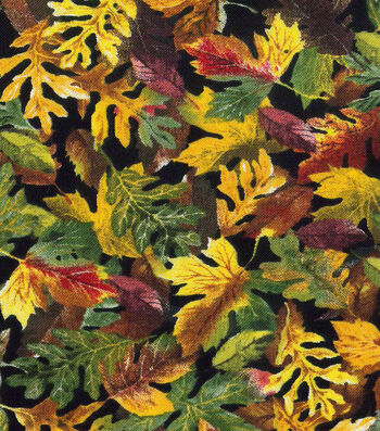 Harvest Cotton Fabric-Chocolate Maple Leaves