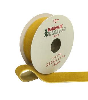 Handmade Holiday Christmas Velvet Ribbon 7/8''x9'-Yellow Gold