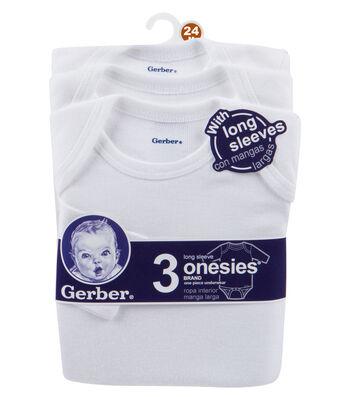 Gerber 3pk Long Sleeve Onesie-24M White