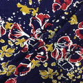 Knit Prints Rayon Spandex Fabric-Navy Red Gold Floral