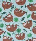 Blizzard Fleece Fabric-Happy Hanging Sloth