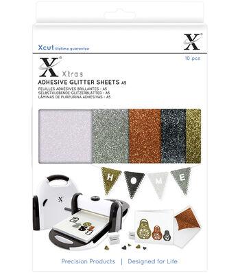 Xcut Xtras 10 pk A5 Adhesive Glitter Sheets-Metallics