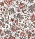 Vintage Cotton Fabric -Orange Jacobean