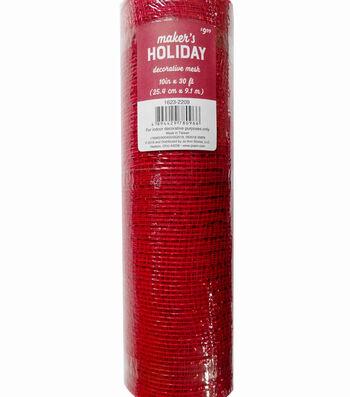 Maker's Holiday Christmas Decorative Mesh Ribbon 10''x30'-Red