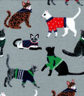 Snuggle Flannel Fabric -Kitties with Sweater