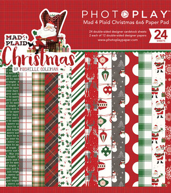 Photo Play Paper Mad 4 Plaid Christmas 6''x6'' Double-Sided Paper Pad