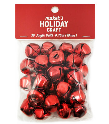 Maker's Holiday Craft Christmas 30 pk 0.75'' Bells-Red