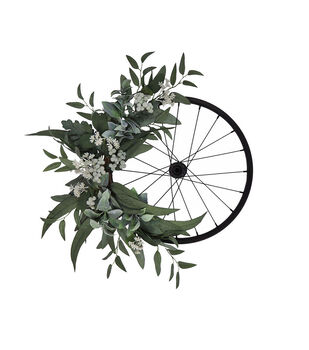 Blooming Autumn Greenery & Bicycle Wheel Wreath