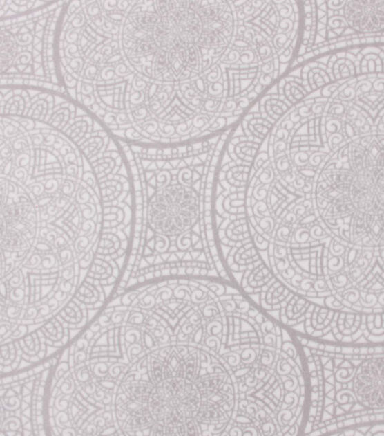 Anti Pill Plush Fleece Fabric Gray White Medallion, , hi-res, image 2