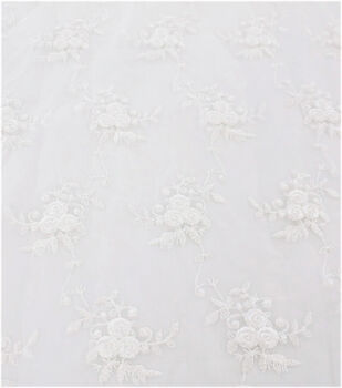 Sew Sweet Dahlia Sheer Mesh Fabric-Roses Embroidered with Pearl White