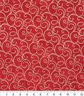 Keepsake Calico Cotton Fabric-Red Foil Swirls