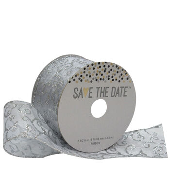 Save the Date 2.5'' X 15' Ribbon-Silver Swirl