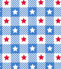 Patriotic Cotton Fabric -Red Stars