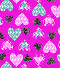 Snuggle Flannel Fabric -Hearts on Bright Pink