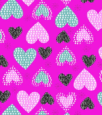 Snuggle Flannel Fabric 42''-Hearts on Bright Pink