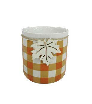 Blooming Autumn Large Stoneware Container-Orange & White Checks
