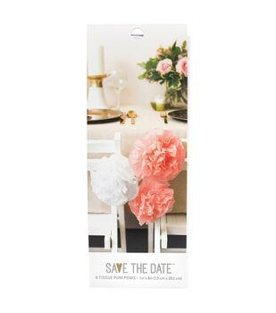 Save the Date DIY 6 pk 1''x8'' Tissue Pom Poms