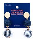 hildie & jo Patriotic Jewelry Dangle Earrings-Navy & White