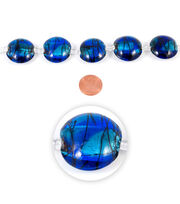 Blue Moon Strung Art Glass Beads,Flat Round,Light & Dark Blue,Swirl, , hi-res