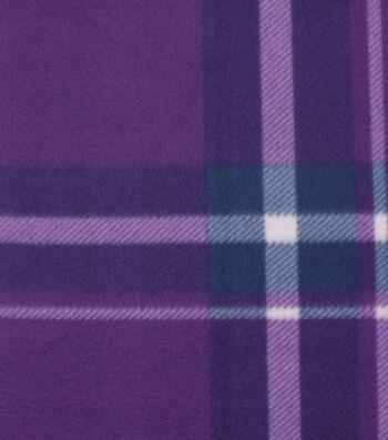 "Blizzard Fleece Fabric 59""-Bryce Purple Plaid"
